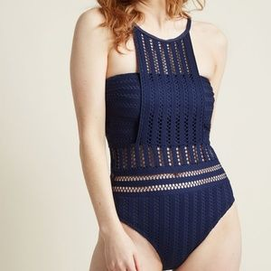 Modcloth × Kenneth Cole Navy Mesh Detail 1-Piece